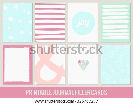 printable set of filler cards for scrapbook, planner, diary journaling in vector - stock vector