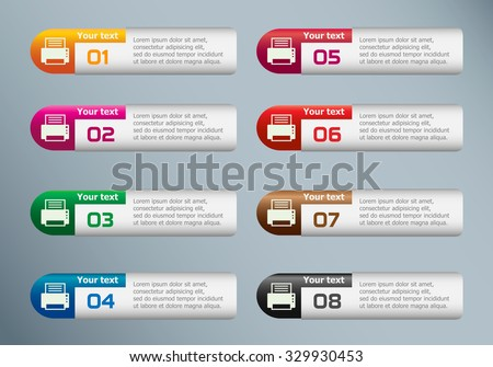 Printer and marketing icons on Infographic design template. - stock vector