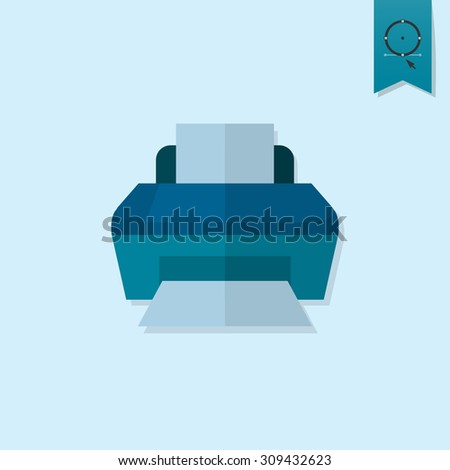 Printer. Business and Finance, Single Flat Icon. Simple and Minimalistic Style. Vector - stock vector