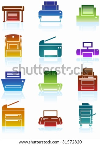 Printer Colorful Icon Set : Set of printing device themed buttons in a minimal style. - stock vector