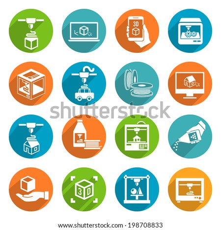 Printer 3d round button icons set of modern architecture futuristic print machine isolated vector illustration - stock vector