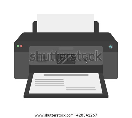 Printer flat vector icon and illustration of printer icon isolated on white. Printer machine, equipment, design and printer paper office technology business tool. Scanner photocopier printer. - stock vector