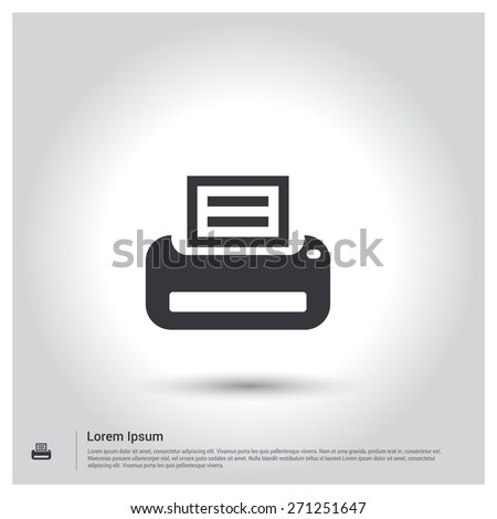Printer icon, pictogram icon on gray background. Vector illustration for web site, mobile application. Simple flat metro design style. Outline Icon. Flat design style - stock vector