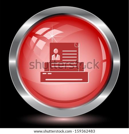 Printer. Internet button. Vector illustration. - stock vector
