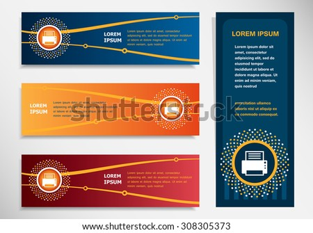 Printer on modern abstract flyer, banner, brochure design template. Collection for Business - stock vector
