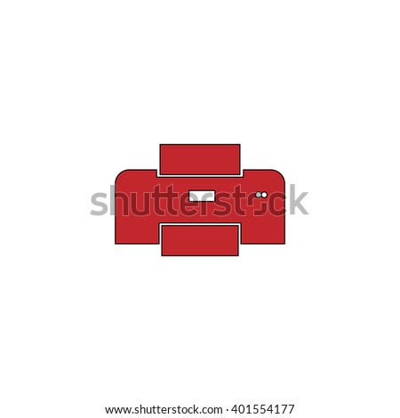 Printer. Red flat simple modern illustration icon with stroke. Collection concept vector pictogram for infographic project and logo - stock vector