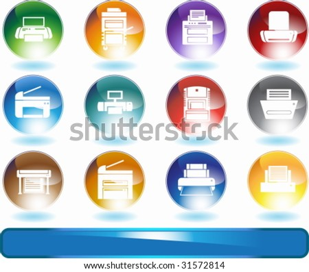 Printer Round Icon Set : Set of printing device themed buttons in a minimal style. - stock vector
