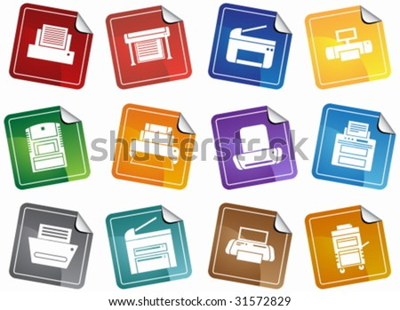 Printer Sticker Icon Set : Set of printing device themed buttons in a minimal style. - stock vector