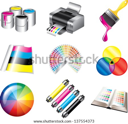 printing and polygraph colors icons detailed vector set - stock vector