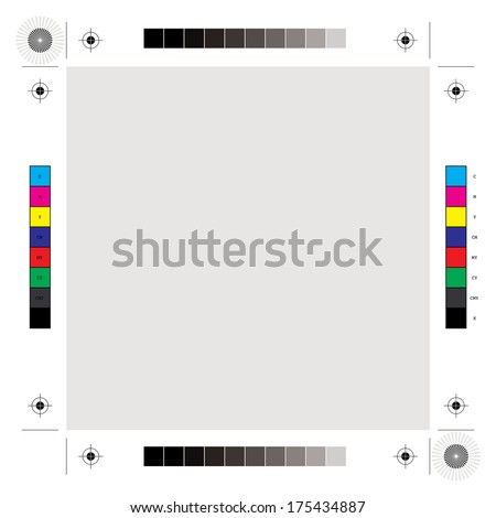 Printing, cutting and calibration marks vector illustration. - stock vector