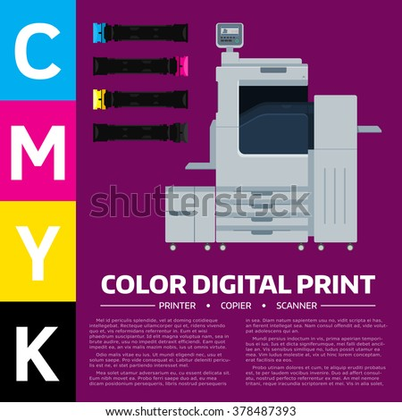 Printing equipment. Color printer, cartridge and sample text. Copy, print and scan machine. Vector press industry illustration. Advertising, brochure, presentation design. Modern digital equipment. - stock vector