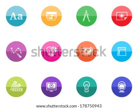 Printing & graphic design icon series in color circles. - stock vector