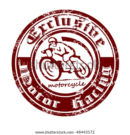 Printing is made in the old style with the image of the motorcycle. - stock vector