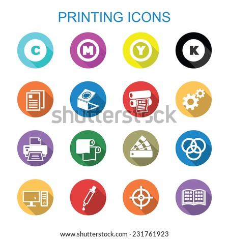 printing long shadow icons, flat vector symbols - stock vector