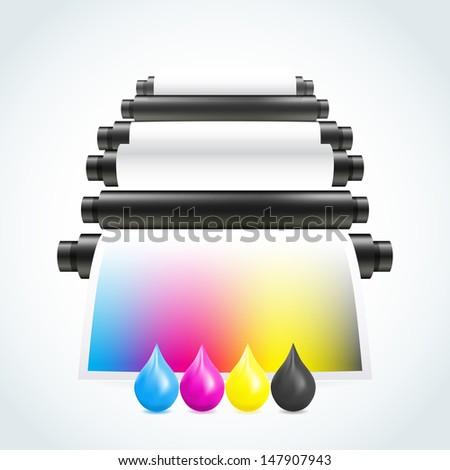 Printing machine - stock vector