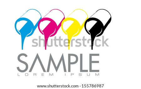 Printing or ink retail company vector logo design template. Vector illustration of CMYK process printing color cans. - stock vector