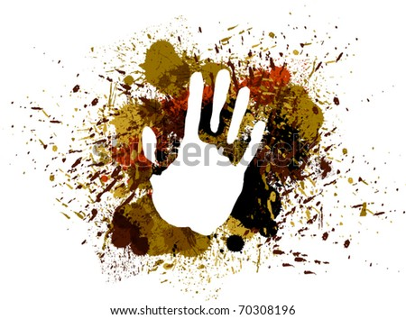 Prints of hand on ink colorful splash. - stock vector
