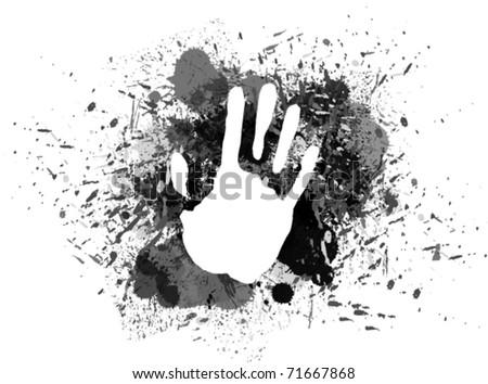 Prints of hand on ink splash. - stock vector