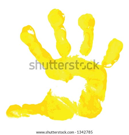 Prints of hands of the boy - stock vector