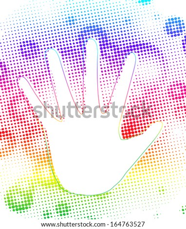 Prints of hands on dots colorful splash. Vector - stock vector