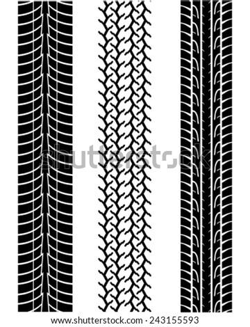 Prints of tire, vector illustration - stock vector