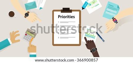 priorities priority concept vector illustration - stock vector