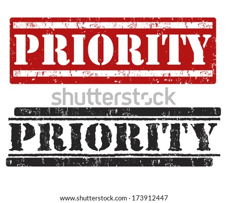 Priority grunge rubber stamps on white, vector illustration - stock vector
