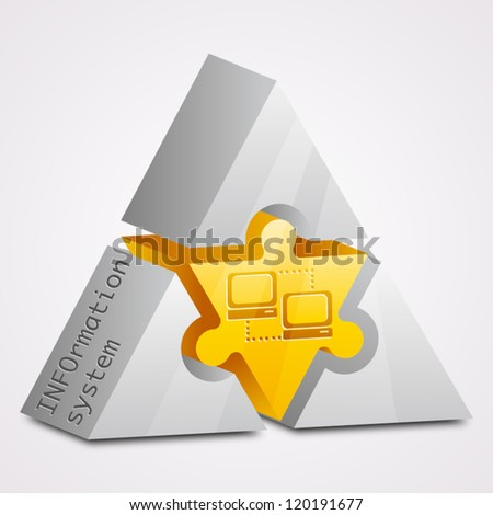 Prism puzzle. Information system concept. - stock vector
