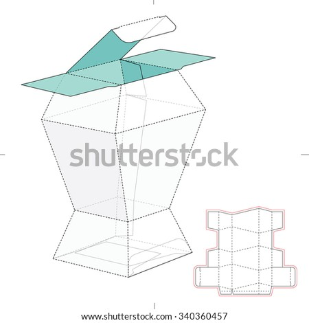 Prismatic Box with Die Cut Template - stock vector