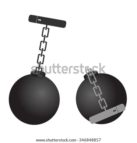 prison ball cartoon vector illustration - stock vector