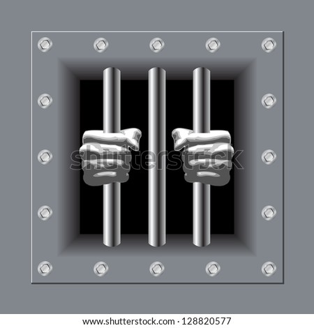 Prison bars with his hands - stock vector