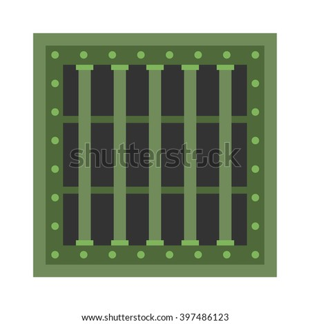 Prison grill grid bar freedom and prison grill grate iron. Prison grill imprisonment punishment wall. Security window lattice closed grill justice. Prison cell window with metal green grill vector. - stock vector