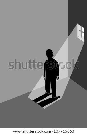 prisoner in the cell window enjoy the sunlight - stock vector