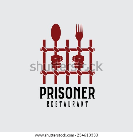 prisoner restaurant concept vector design template - stock vector