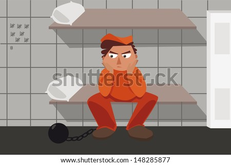 Prisoner thinking about his mistakes - stock vector