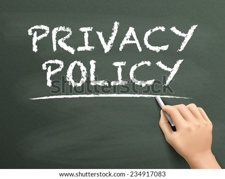 privacy policy words written by hand on blackboard - stock vector