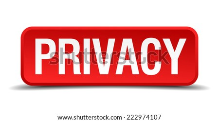 Privacy red 3d square button isolated on white - stock vector