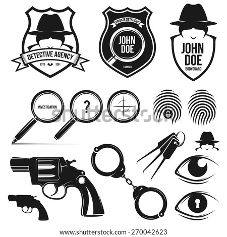 Private detective agency. Design elements toolkit. - stock vector
