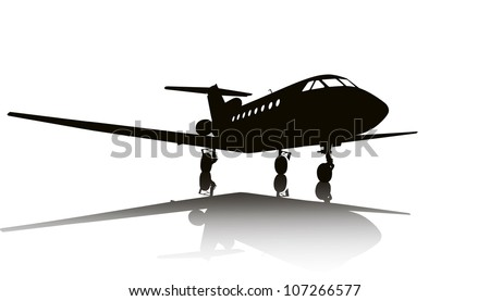 Private jet plane silhouette with reflection. Separate layers - stock vector
