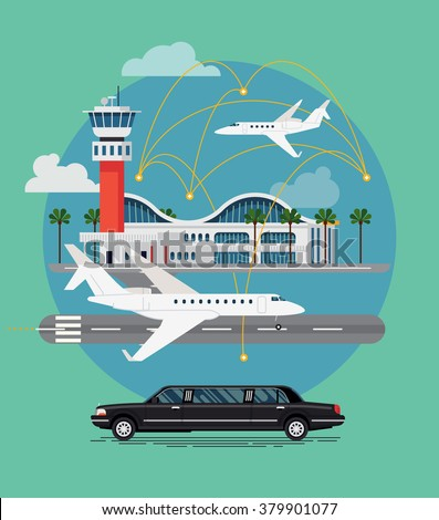 Private travel flat vector concept design. Executive airport terminal with private jet and limo vehicle. Luxury flight, private airplane, exclusive service, premium travel illustration - stock vector