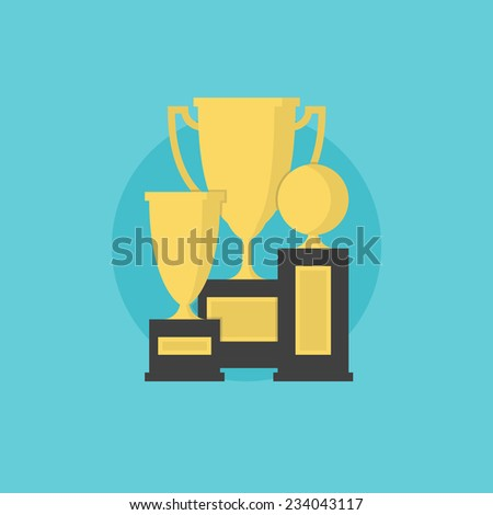Prize and awards of successful winner, trophy cup collection, leader winning and victory achievement. Flat icon modern design style vector illustration concept. - stock vector