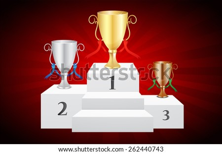 Prize Trophies Podium + Background (Vector Illustration) - stock vector