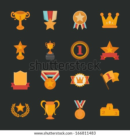 Prizes & Awards icons , flat design , eps10 vector format - stock vector
