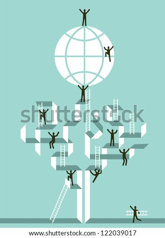 Proactive teamwork to global business success concept tree illustration. Vector file layered for easy manipulation and custom coloring. - stock vector