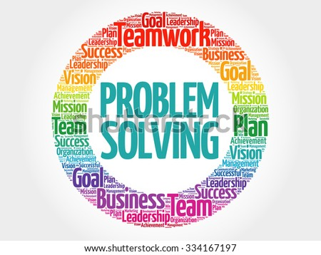 Problem Solving circle stamp word cloud, business concept - stock vector
