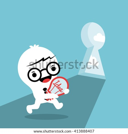 problem solving conceptual illustration with a man carrying idea light bulb walking through key hole door - stock vector
