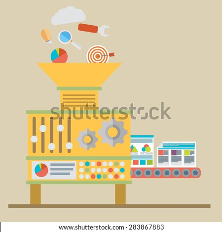 Process of creating site. Process coding and programming. - stock vector