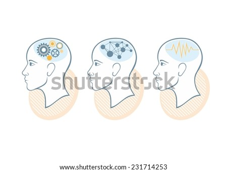 Process of human thinking. Set of silhouette of head, and brain. The concept of intelligence - stock vector