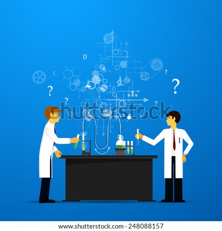 Process Research in a chemical laboratory. The concept of science, medicine and research. - stock vector