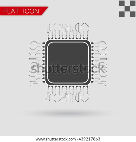 processor Icon Flat App Web Style - stock vector